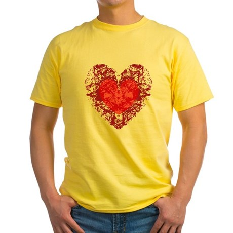 Red Grunge Heart Yellow T-Shirt