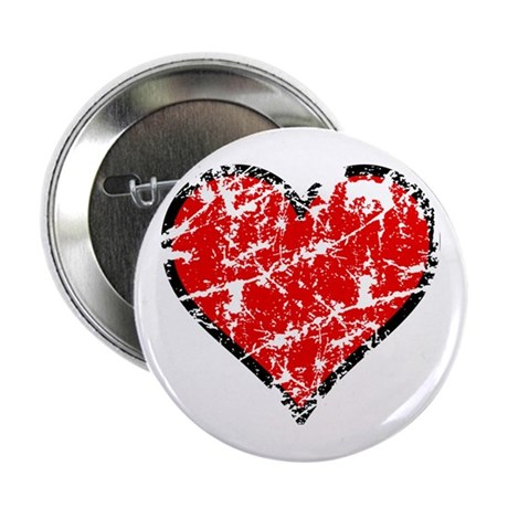 "Red Grunge Heart 2.25"" Button"