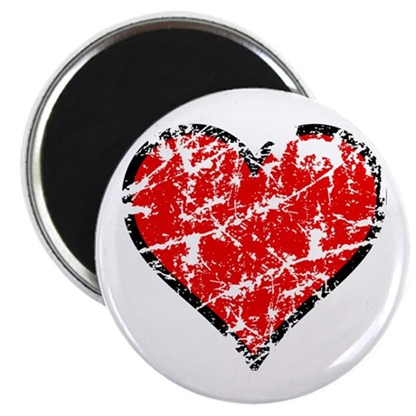 "Red Grunge Heart 2.25"" Magnet (100 pack)"