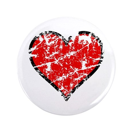 "Red Grunge Heart 3.5"" Button"