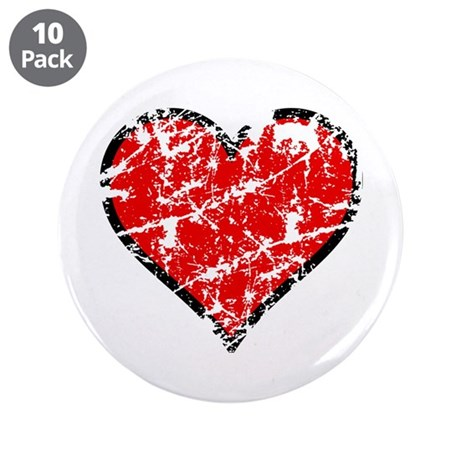 "Red Grunge Heart 3.5"" Button (10 pack)"