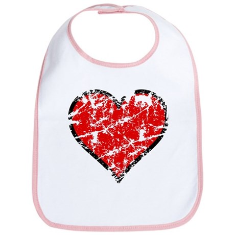 Red Grunge Heart Bib
