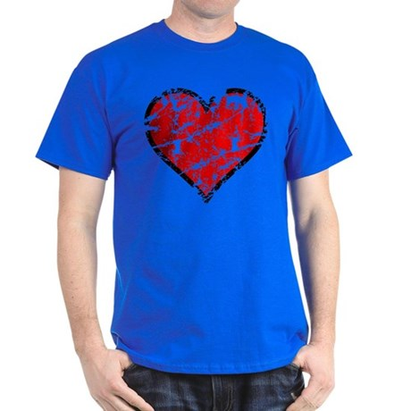 Red Grunge Heart Dark T-Shirt