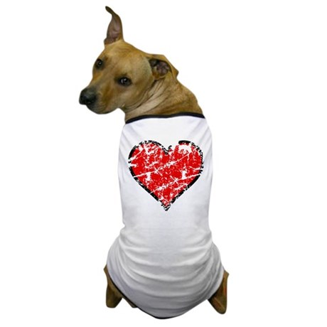Red Grunge Heart Dog T-Shirt