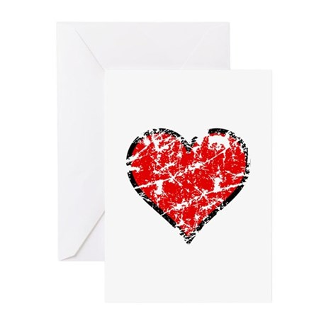 Red Grunge Heart Greeting Cards (Pk of 10)