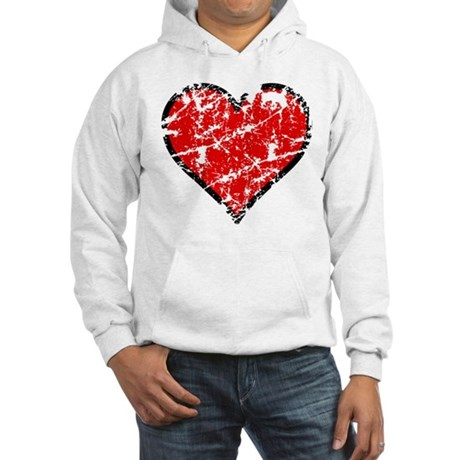 Red Grunge Heart Hooded Sweatshirt