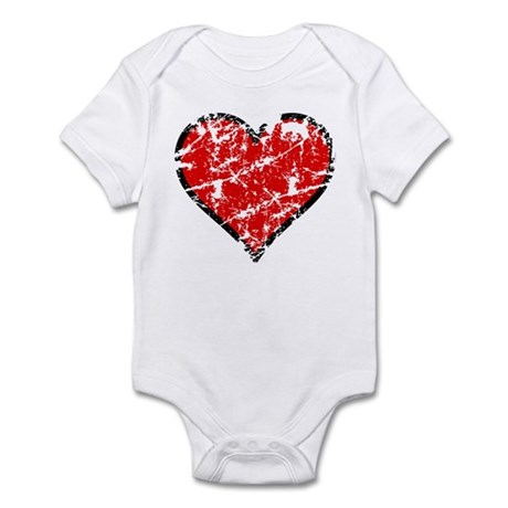Red Grunge Heart Infant Bodysuit