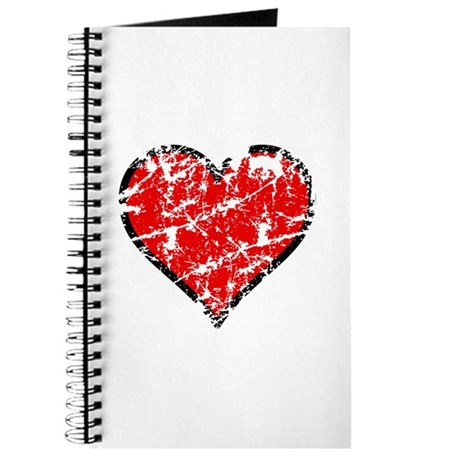 Red Grunge Heart Journal