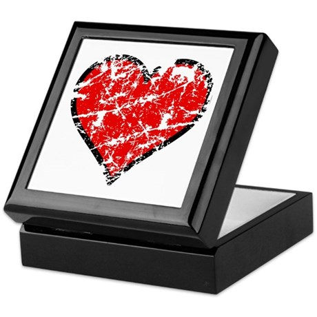 Red Grunge Heart Keepsake Box