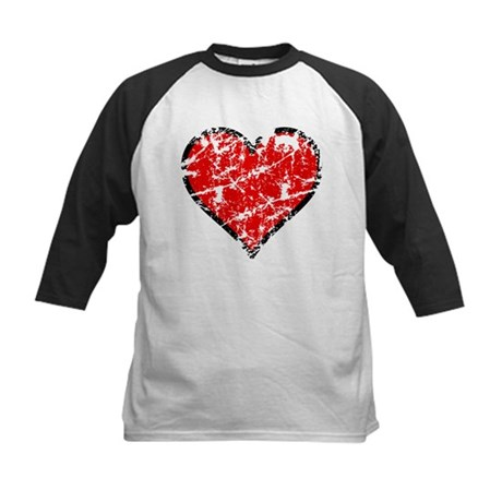 Red Grunge Heart Kids Baseball Jersey