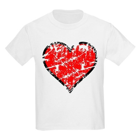 Red Grunge Heart Kids Light T-Shirt