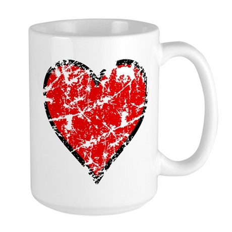 Red Grunge Heart Large Mug