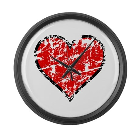 Red Grunge Heart Large Wall Clock