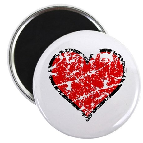 Red Grunge Heart Magnet