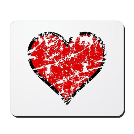 Red Grunge Heart Mousepad