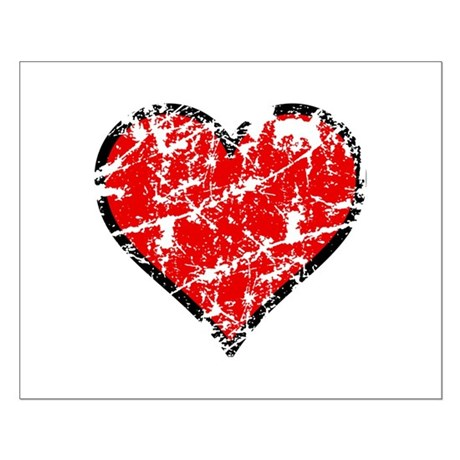 Red Grunge Heart Small Poster