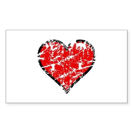 Red Grunge Heart Rectangle Sticker