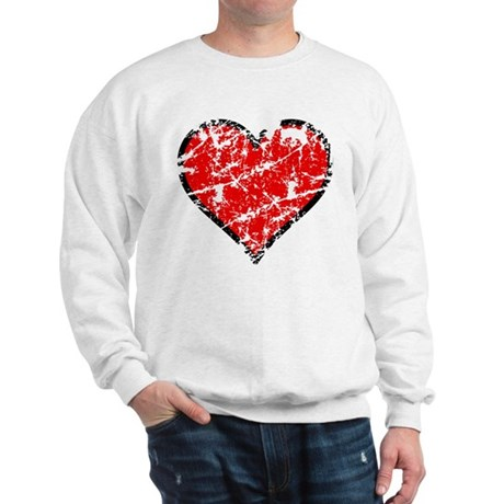 Red Grunge Heart Sweatshirt