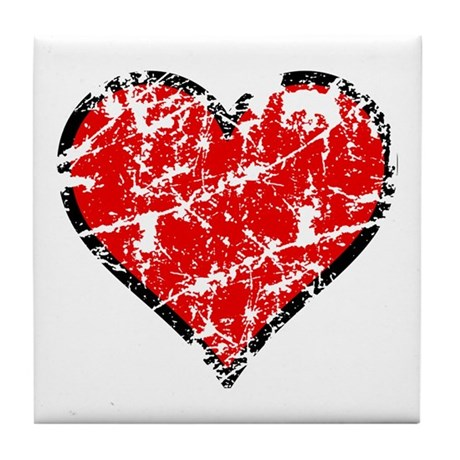 Red Grunge Heart Tile Coaster