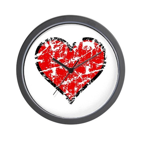 Red Grunge Heart Wall Clock