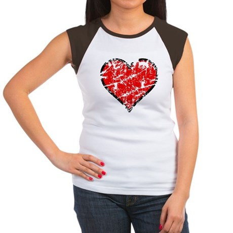 Red Grunge Heart Women's Cap Sleeve T-Shirt