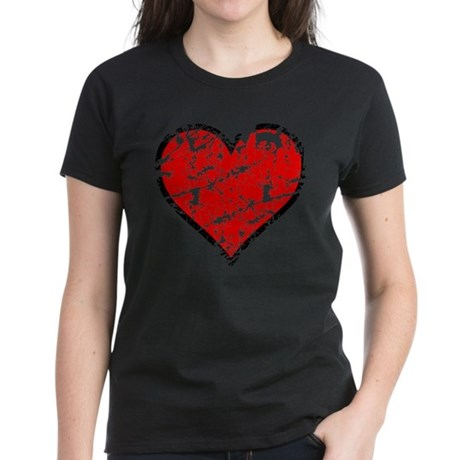 Red Grunge Heart Women's Dark T-Shirt