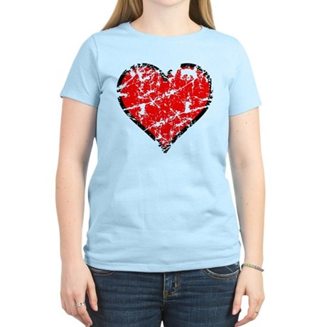 Red Grunge Heart Women's Light T-Shirt