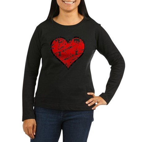 Red Grunge Heart Women's Long Sleeve Dark T-Shirt