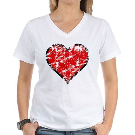 Red Grunge Heart Women's V-Neck T-Shirt