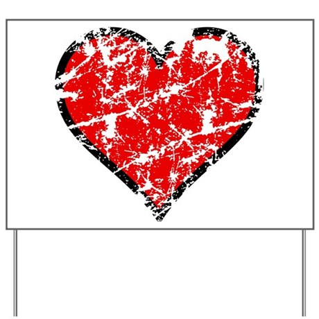 Red Grunge Heart Yard Sign