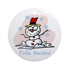 Merry Spanish Snowman Ornament (Round)
