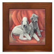 Bedlington Puppy Love Framed Tile