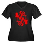 Mudflap Girl Fractal Women's Plus Size V-Neck Dark