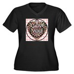 I LOVE YOU! Women's Plus Size V-Neck Dark T-Shirt