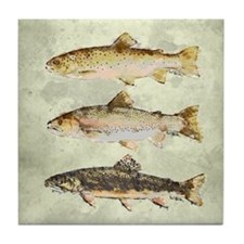 Trout Watercolor Tile Coaster