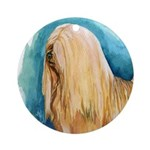 Lhasa Apso Painting Ornament (Round)
