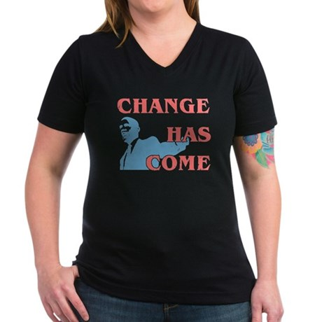 Change Has Come Women's V-Neck Dark T-Shirt