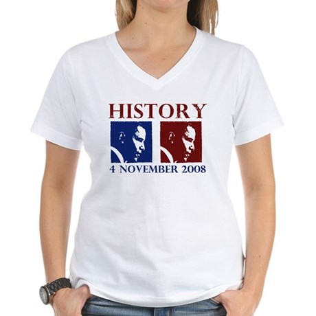History 11-4-2008 Women's V-Neck T-Shirt