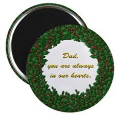 Memory of Dad Holly Wreath Magnet