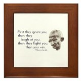 Gandhi Quote - &quot;First they ig Framed Tile