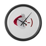 Smiley Emoticon - Santa Hat Large Wall Clock