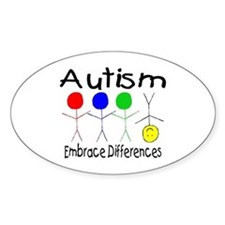 Autism, Embrace Differences Oval Decal