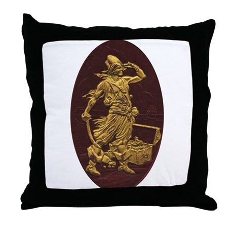 Gold Leaf Pirate Throw Pillow