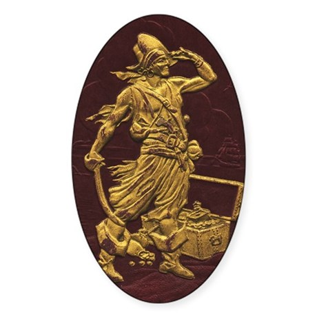 Gold Leaf Pirate Oval Sticker