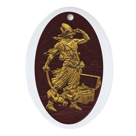 Gold Leaf Pirate Oval Ornament