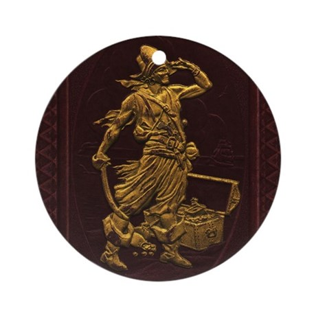 Gold Leaf Pirate Ornament (Round)