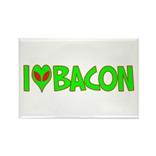 I Love-Alien Bacon Rectangle Magnet