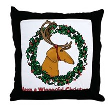 Red Weindeer Dacshund Throw Pillow