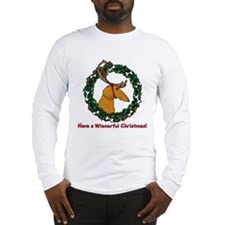 Red Weindeer Dacshund Long Sleeve T-Shirt