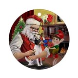 Santa's Toy Fox Terrier Ornament (Round)